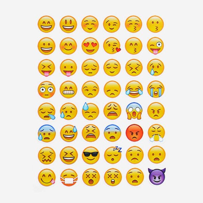 Cartela com 48 Adesivos Emoji Rosto